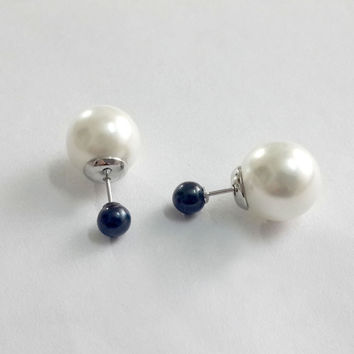 double sided pearl studs/double pearl studs/double pearl earrings/front back earrings/double ball earrings