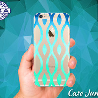 Retro Vintage Shape Pattern Mint Blue Ombre Tumblr Inspired Custom Clear Transparent Rubber Case Cover For iPhone 6 and iPhone 6 Plus +