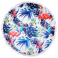 Blue Jungle Pink Flamingo Lotus Round Beach Towel Roundie Blanket