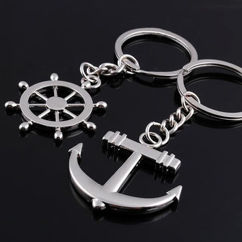 key chain Ring keychain Fashion Metal couples lovers Anchor & rudder love (Size: 1) = 1929804100