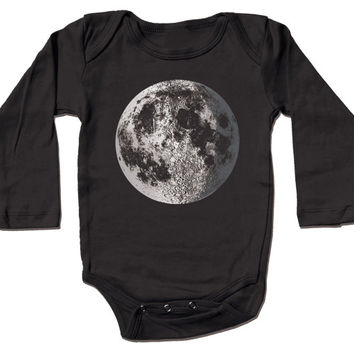 Moon Infant Bodysuit - almost full moon graphic with crescent, metallic silver foil screenprint, black long sleeve for baby