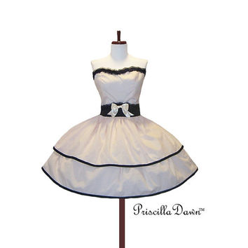 LAST ONE dolly cute layered pink and black stripe cand cream stripe special occasion party dress.