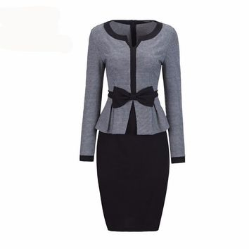 Office Women Long Sleeve Houndstooth Patchwork Bow Peplum Plaid Bodycon Pencil Dress