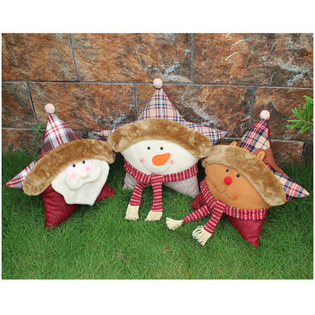 2016 Promotion Non-woven Unicorn Brinquedos Christmas Santa Claus / Elk / Snowman Pillow,Home Decoration Festival Cushion