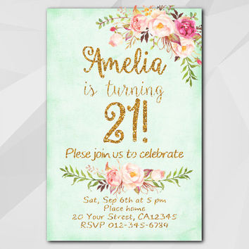 21st Birthday Invitation, Turquoise Gold Invitation, Any age 13, 18, 21, 30, 40, 50, Custom Birthday Party invitation XA302t