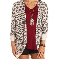 Long Aztec Print Cocoon Cardigan Sweater
