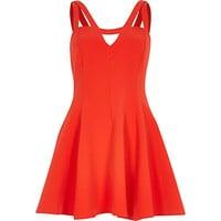 River Island Womens Red double strap flared dress