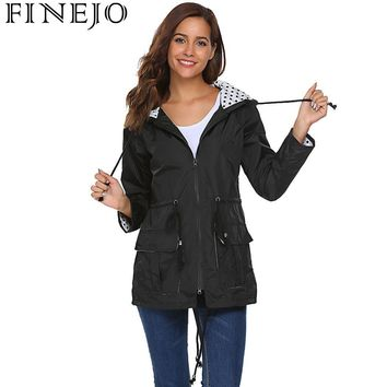 FINEJO Women Lightweight Jacket Hooded 2018 Autumn Long Sleeve Drawstring Rain Raincoat Dots Print Fashion Women Jacket Coat