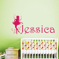 Name Wall Decals Fairy Personalized Decal Girl Name Vinyl Stickers Kids Nursery Home Bedroom Decor T146