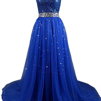 Dresstells Sweetheart Tulle Prom Dress Homecoming Dress with Sequins Champagne Size 2