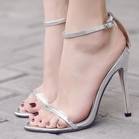 Simple Ankle Straps High Heels Party Sandals