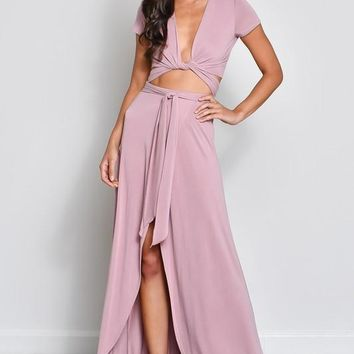 Until The End Mauve Crop Top and Skirt Set