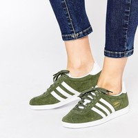 Adidas | adidas Originals Gazelle Khaki & White Sneakers at ASOS