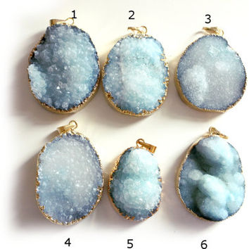 Druzy blue pendants