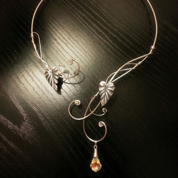 Medieval Renaissance circlet choker silver necklace leaf with swarovski elements Arwen Elven