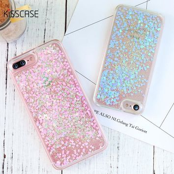 KISSCASE Bling Quicksand Phone Case For iPhone 5 5S SE 4S Cover QuickSand Cute Cases For iPhone 6 6s 7 8 Plus Phone Shell Capa