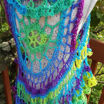Crochet Circular Vest. Lotus Mandala Circular Vest. Size fits average medium. Made By Bead G's On ETSY. Long Bohemian Vest