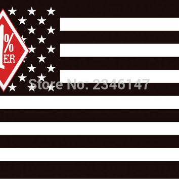 Outlaw M.C 1%er American Flag 3x5 FT Polyester Banner with Grommet