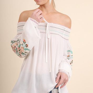 Off the Shoulder Top with Embroidered Sleeves