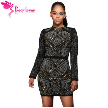 Dear Lover bodycon dress for party Black Mini Jeweled Quilted Long Sleeves Dress for Winter Women vestido curto de festa LC22838