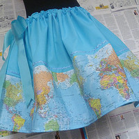 World Map Skirt, Dress, ALL SIZES, Travellers Skirt, RoOBYS, Quirky Skirts