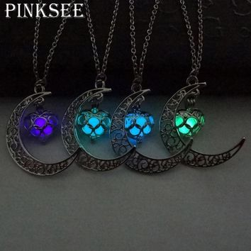 PINKSEE Magic Fairy Locket Glow In The Dark Moon Statement Necklace Hollow Love Heart Pendant For Women Jewelry Gifts