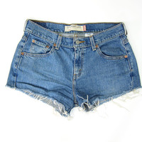 Vintage LEVIS shorts 90s Cut off denim shorts Frayed jean shorts Hipster 1990s Daisy Dukes Women's Size 6 MEDIUM