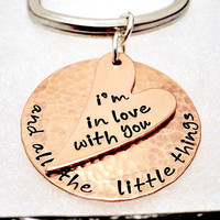 One Direction - Personalized Key Chain - Heart Key Ring - As Shown Or Your Favorite Phrase - Hand Stamped