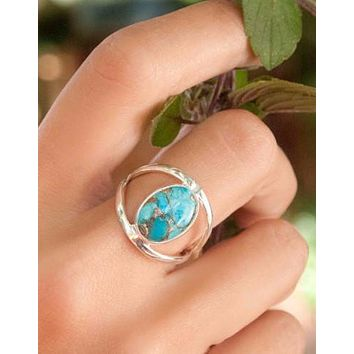 Eleanor Copper Turquoise Ring (BJR036)