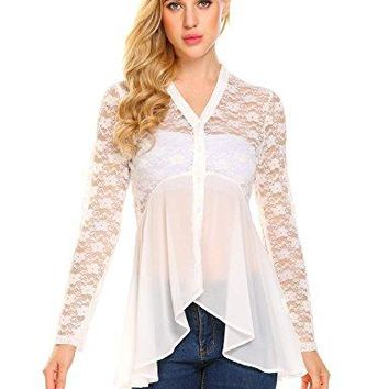 Yhlovg Womens Long Sleeve Blouse Button Up Chiffon Lace Sheer Flowy Shirt Top