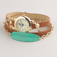 Brown Green Leaf Wrap Watch - World Market
