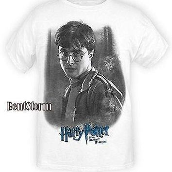 Licensed cool NEW Harry Potter and The Deathly Hallows  White Tee Shirt T STARE Forest Wizard
