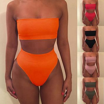 2017 Sexy Women Bikini Set Off Shoulder Solid Bandage Push Up Padded Swimwear Swimsuit Beachwear Pluz Size
