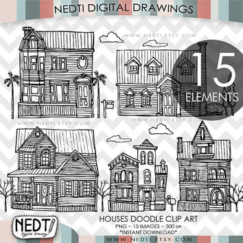 Houses Doodle Clip Art, House Home Clipart, Digital Images, PNG, High Resolution, Downloadable