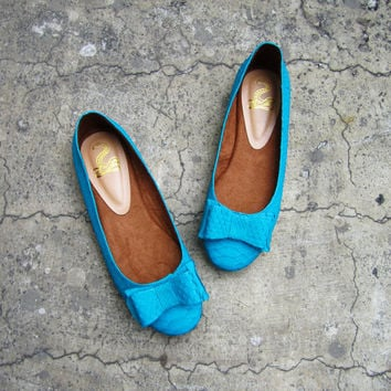 NEON FLATS - Cyan Blue Python Snakeskin Leather Shoes Ballet Flats with Big Bow Ribbon