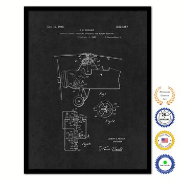 1940 Remote Control Steering Apparatus for Flying Machine Airplane Vintage Patent Artwork Black Framed Canvas Home Office Decor Great for Pilot Gift