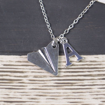 SALE initial necklace, paper airplane necklace, one direction, Harry styles, long necklace, silver plane charm on silver plated chain