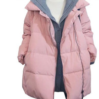 Front Zip Padded Hooded Coat