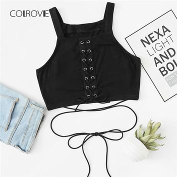 COLROVIE Eyelet Lace Up Crop Top 2018 New Arrival Summer Criss Cross Straps Female Clothes Rock Slim Fit Crop Tank