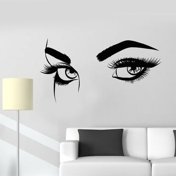 Vinyl Wall Decal Sexy Eyebrows Eyes Girl Woman Eyelashes Makeup Stickers (2492ig)