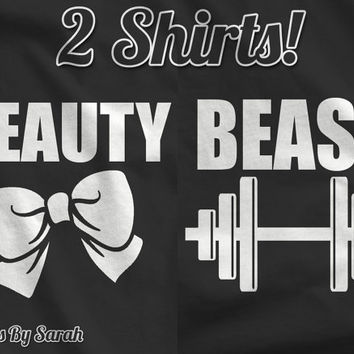 Matching Couples Shirts - Beauty Beast T-Shirt Matching Bow Barbell TShirts For Couples Men's Women's