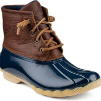 Sperry Top-Sider Saltwater Duck Boot Tan/Navy, Size 8M  Women's Shoes