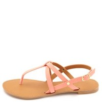 Qupid Crisscrossing Strappy Thong Sandals by Charlotte Russe - Salmon