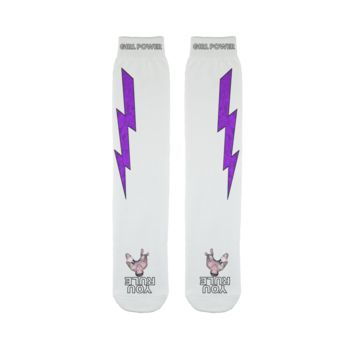 You Rule Girl Power Socks (WHITE) – Purple Lightning and a Flat Man Underfoot Sublimation Tube Sock