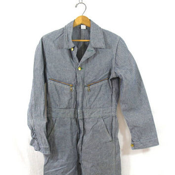 Vintage Denim KEY Jumpsuit car Mechanic Pants / Key Jeans Jumper / Romper / Coveralls Jumpsuit / Jumpsuit / Size 18