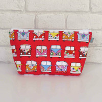 Makeup bag / Cosmetic bag in red Campervan design