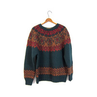 Fair Isle Sweater Thick Wool Chunky Hand Knit Handwoven Raglan Boho Preppy Winter Pullover Green Red Vintage Small Medium