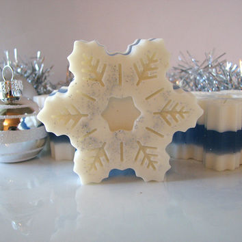 Snowflake Jack Frost Soap - Handmade Glycerin Soap - Large Soap - Christmas Winter Soap - Natural Soap -Glitter - Bath and Body