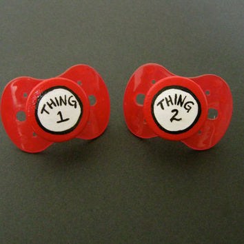 NEW- Thing 1 & Thing 2- Hand Painted Custom Pacifier Set in NUK Style RED