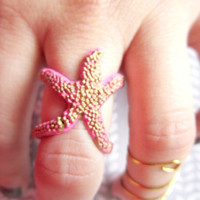 Star Fish Ring, Hand painted Hot Pink & Gold Starfish, StarFish Jewelry